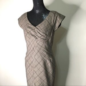 NWT Pleated Wrap Front Plaid Dress